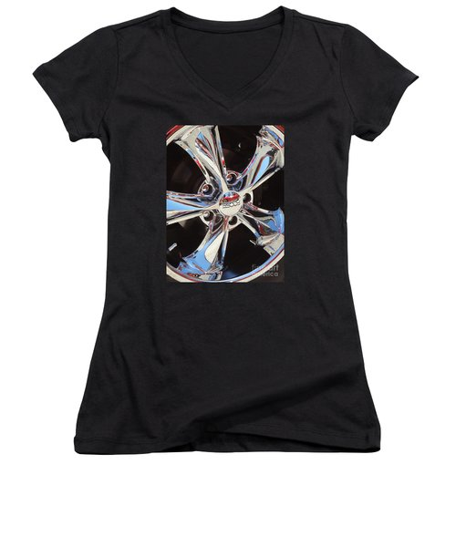 Mirror Wheel Women's V-Neck T-Shirt (Junior Cut) by Gem S Visionary
