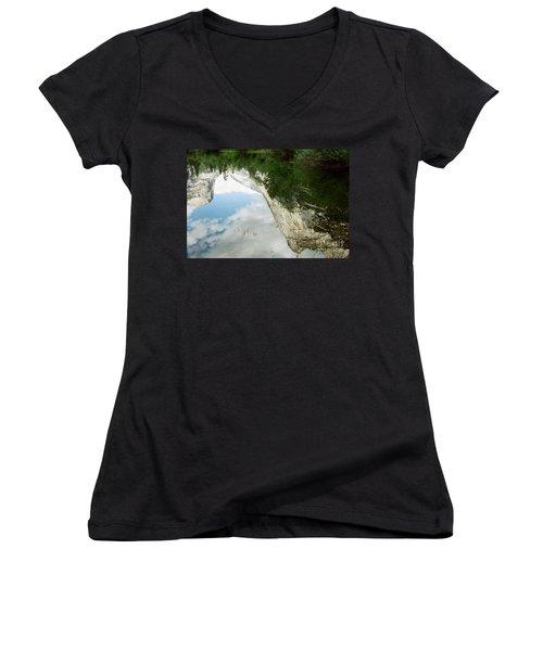 Mirrored Women's V-Neck T-Shirt (Junior Cut) by Kathy McClure