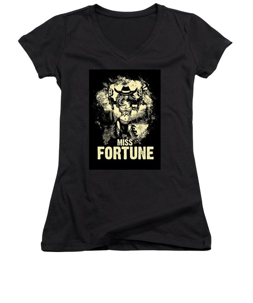 Miss Fortune - Vintage Comic Line Art Style Women's V-Neck