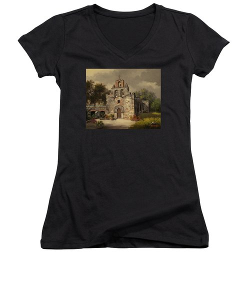 Women's V-Neck T-Shirt (Junior Cut) featuring the painting Mission Espada by Kyle Wood