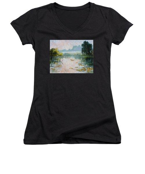 Mist Over Water Lilies Pond Women's V-Neck T-Shirt (Junior Cut) by Irek Szelag