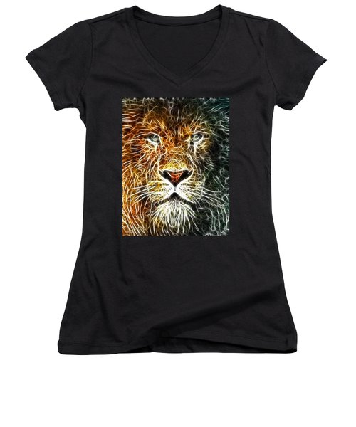 Women's V-Neck T-Shirt (Junior Cut) featuring the mixed media Mistical Lion by Paul Van Scott