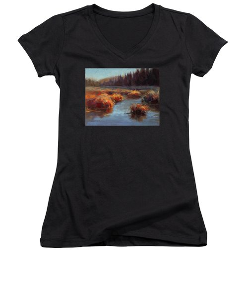 Women's V-Neck T-Shirt (Junior Cut) featuring the painting Misty Autumn Meadow With Creek And Grass - Landscape Painting From Alaska by Karen Whitworth