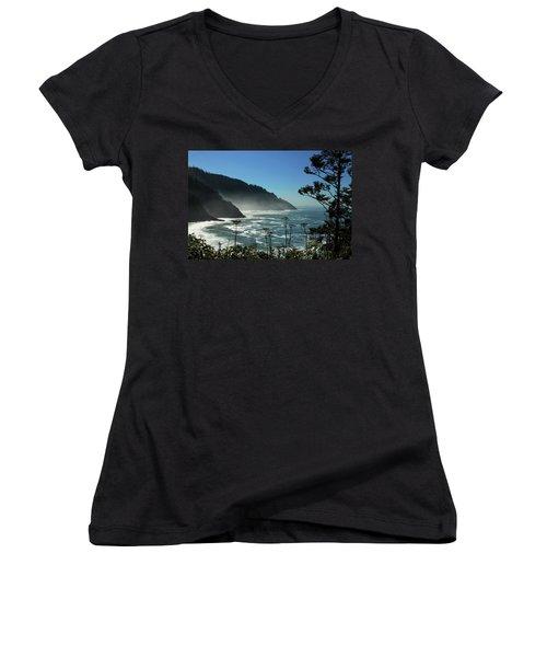 Misty Coast At Heceta Head Women's V-Neck T-Shirt (Junior Cut) by James Eddy