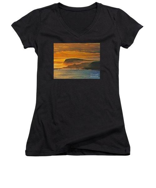 Misty Island Sunset Women's V-Neck T-Shirt (Junior Cut) by Blair Stuart