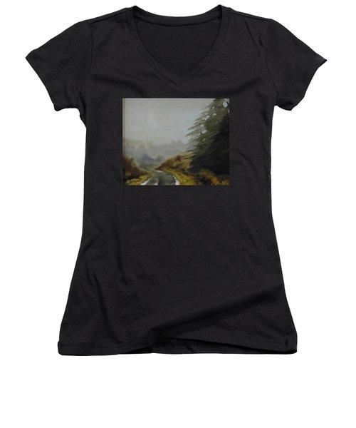 Misty Morning, Benevenagh Women's V-Neck T-Shirt (Junior Cut) by Barry Williamson