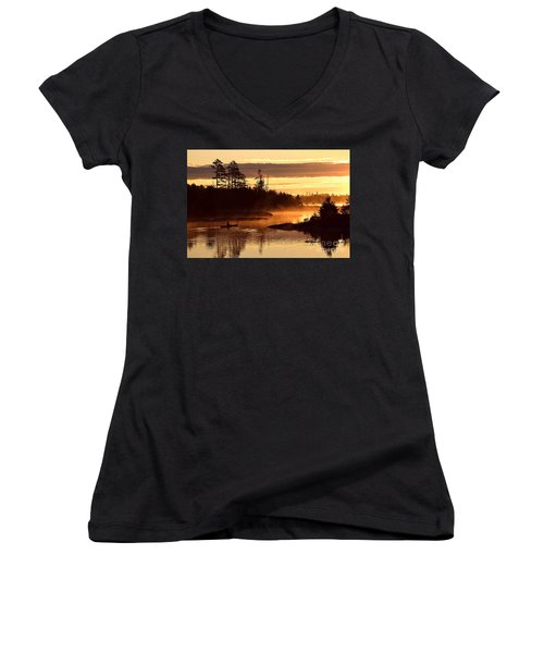 Women's V-Neck T-Shirt (Junior Cut) featuring the photograph Misty Morning Paddle by Larry Ricker
