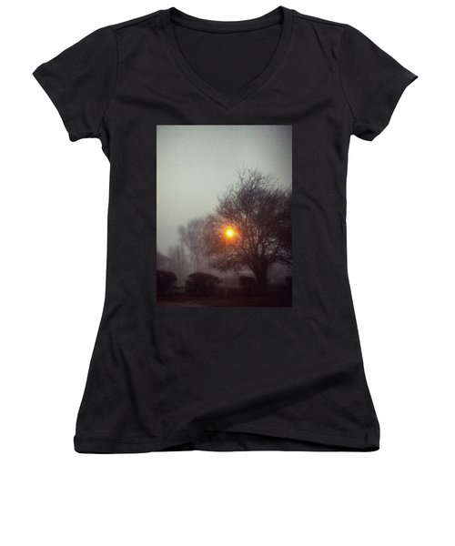 Misty Morning Women's V-Neck T-Shirt (Junior Cut) by Persephone Artworks