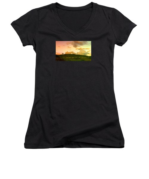 Women's V-Neck T-Shirt (Junior Cut) featuring the photograph Misty Morning Sunrise by Mike Breau