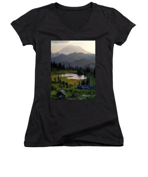 Women's V-Neck T-Shirt (Junior Cut) featuring the photograph Misty Rainier At Sunset by Peter Mooyman