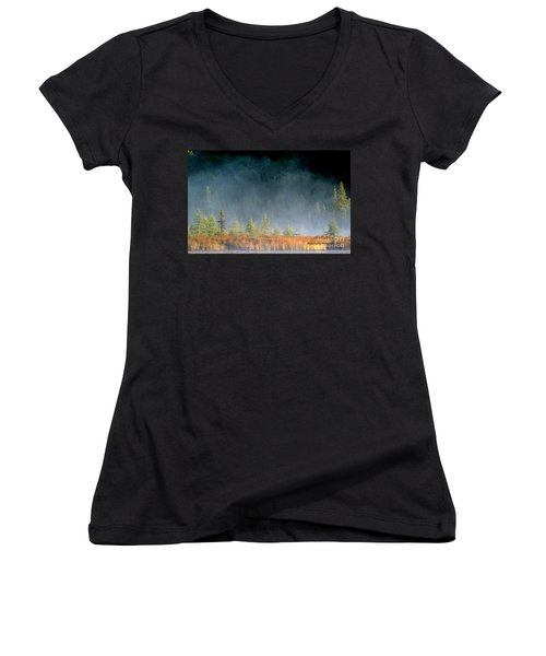 Misty Sunrise At Costello Creek Women's V-Neck (Athletic Fit)