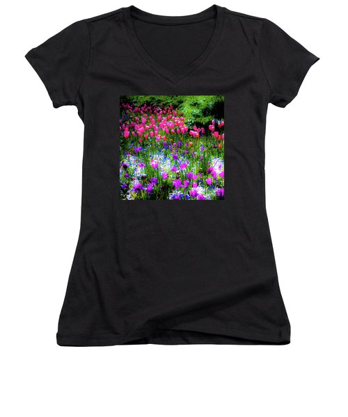 Mixed Flowers And Tulips Women's V-Neck