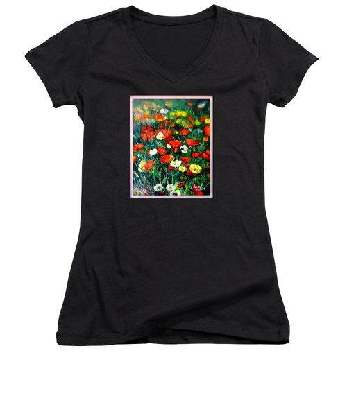 Women's V-Neck T-Shirt (Junior Cut) featuring the painting Mixed Puppies  by Laila Awad Jamaleldin