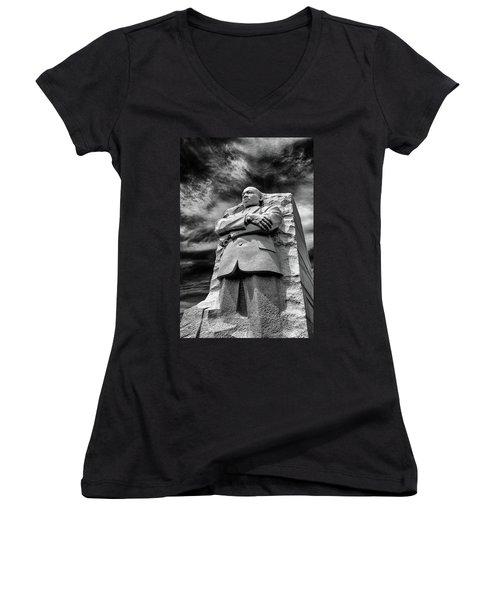 Mlk Memorial Women's V-Neck T-Shirt (Junior Cut) by Paul Seymour