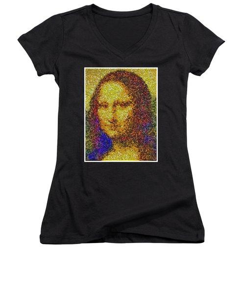 Women's V-Neck T-Shirt (Junior Cut) featuring the mixed media Mm Candies Mona Lisa by Paul Van Scott