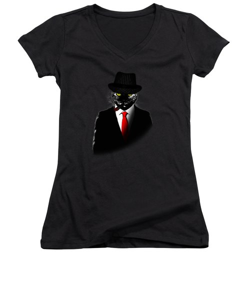 Mobster Cat Women's V-Neck T-Shirt