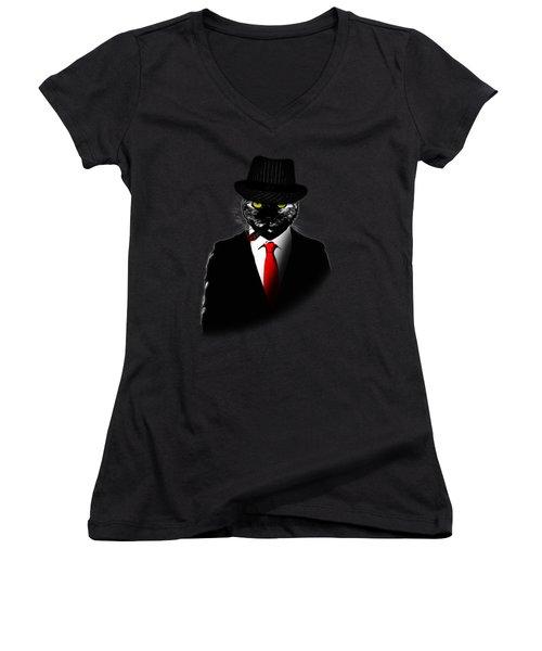 Mobster Cat Women's V-Neck (Athletic Fit)
