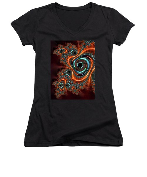 Women's V-Neck featuring the digital art Modern Abstract Fractal Art Orange Cyan by Matthias Hauser