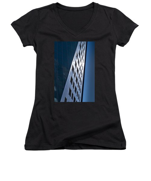 Women's V-Neck T-Shirt (Junior Cut) featuring the photograph Blue Modern Apartment Building by John Williams