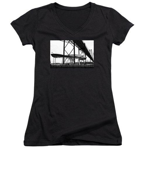 Modern Mass Transit Women's V-Neck T-Shirt (Junior Cut) by Lorraine Devon Wilke