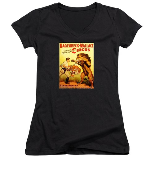Women's V-Neck featuring the digital art Modern Vintage Circus Poster by ReInVintaged