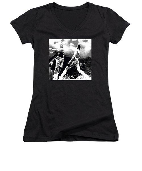 Mohamed Ali Float Like A Butterfly Women's V-Neck T-Shirt (Junior Cut) by Saundra Myles