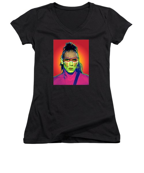 Mohawk Women's V-Neck T-Shirt (Junior Cut) by Gary Grayson