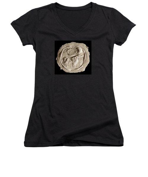 Mohenjodaro Seal Women's V-Neck T-Shirt (Junior Cut) by Suhas Tavkar
