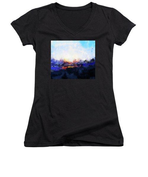 Moment In Blue Spaces Women's V-Neck T-Shirt (Junior Cut) by Cedric Hampton