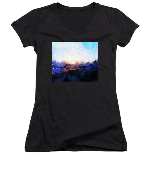 Moment In Blue Spaces Women's V-Neck T-Shirt