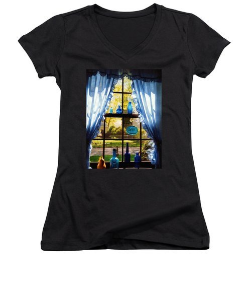 Mom's Kitchen Window Women's V-Neck T-Shirt (Junior Cut) by John Scates