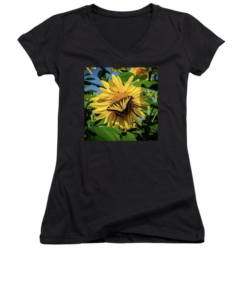 Male Eastern Tiger Swallowtail - Papilio Glaucus And Sunflower Women's V-Neck