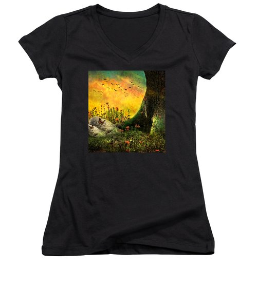 Monarch Meadow Women's V-Neck T-Shirt (Junior Cut) by Ally  White
