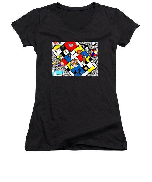Mondrian Nightmare Women's V-Neck (Athletic Fit)