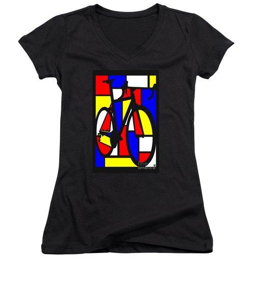 Mondrianesque Road Bike Women's V-Neck