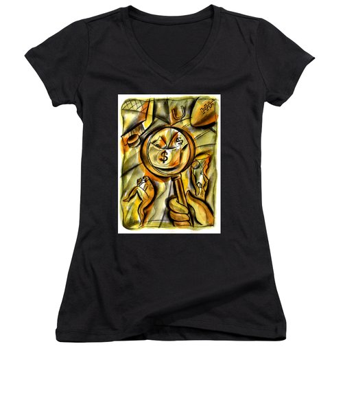 Women's V-Neck T-Shirt (Junior Cut) featuring the painting Money And Professional Sports   by Leon Zernitsky