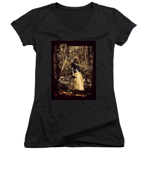 Women's V-Neck T-Shirt (Junior Cut) featuring the digital art Monique 1 by Mark Baranowski