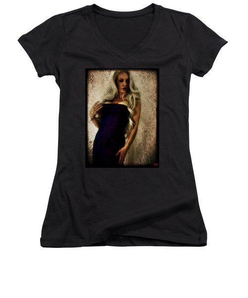 Women's V-Neck T-Shirt (Junior Cut) featuring the digital art Monique 2 by Mark Baranowski