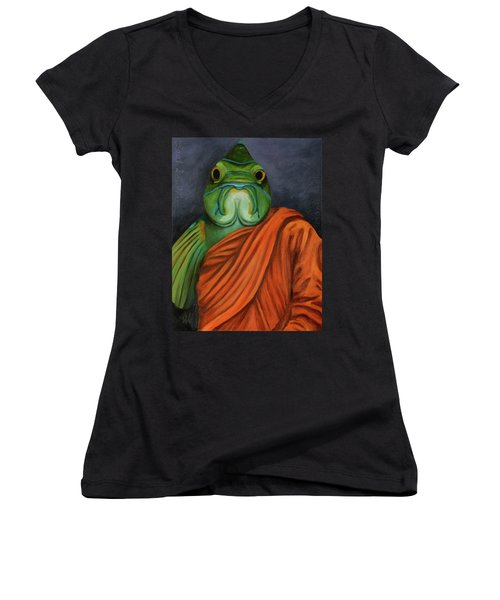 Women's V-Neck T-Shirt (Junior Cut) featuring the painting Monk Fish by Leah Saulnier The Painting Maniac