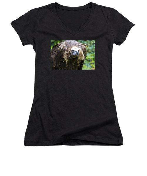 Monk Vulture 3 Women's V-Neck T-Shirt (Junior Cut)