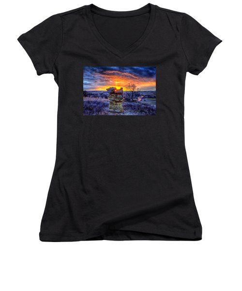 Women's V-Neck featuring the photograph Monolithic Sunrise by Fiskr Larsen