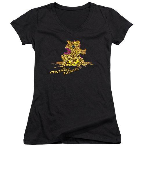 Monster Mutant Lemon Women's V-Neck T-Shirt (Junior Cut) by Jordan Kotter