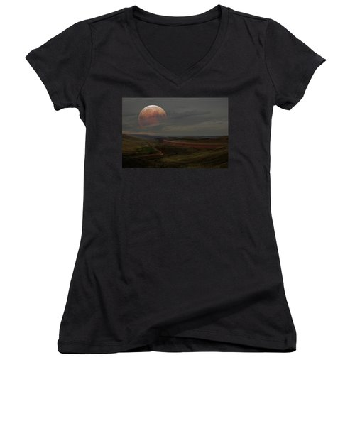 Montana Landscape On Blood Moon Women's V-Neck (Athletic Fit)