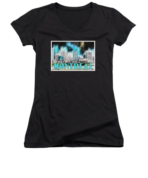 Women's V-Neck T-Shirt (Junior Cut) featuring the painting Montreal Lights by Kai Saarto