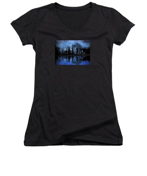 Moody Blue Daybreak Women's V-Neck T-Shirt (Junior Cut) by Cedric Hampton