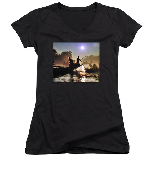 Moody River Silhouettes At Sunset Women's V-Neck (Athletic Fit)