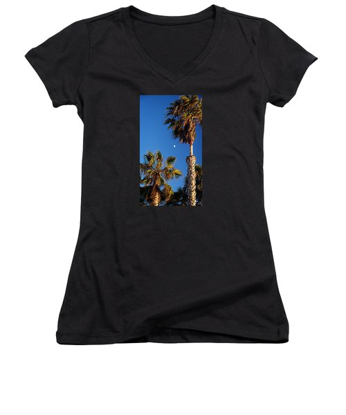 Moon And Palms Women's V-Neck T-Shirt (Junior Cut)