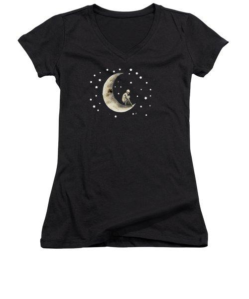 Moon And Stars T Shirt Design Women's V-Neck T-Shirt (Junior Cut) by Bellesouth Studio