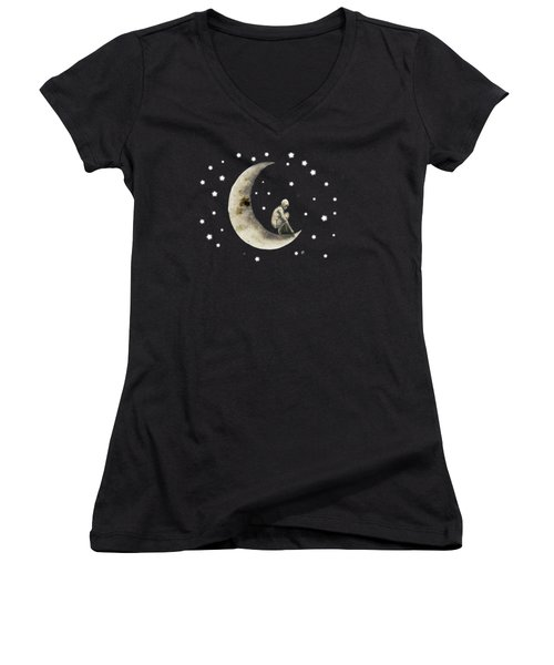 Moon And Stars T Shirt Design Women's V-Neck T-Shirt (Junior Cut)