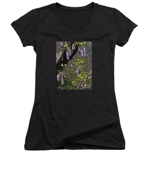 Moon Glow Wisteria Women's V-Neck T-Shirt (Junior Cut) by Patricia L Davidson